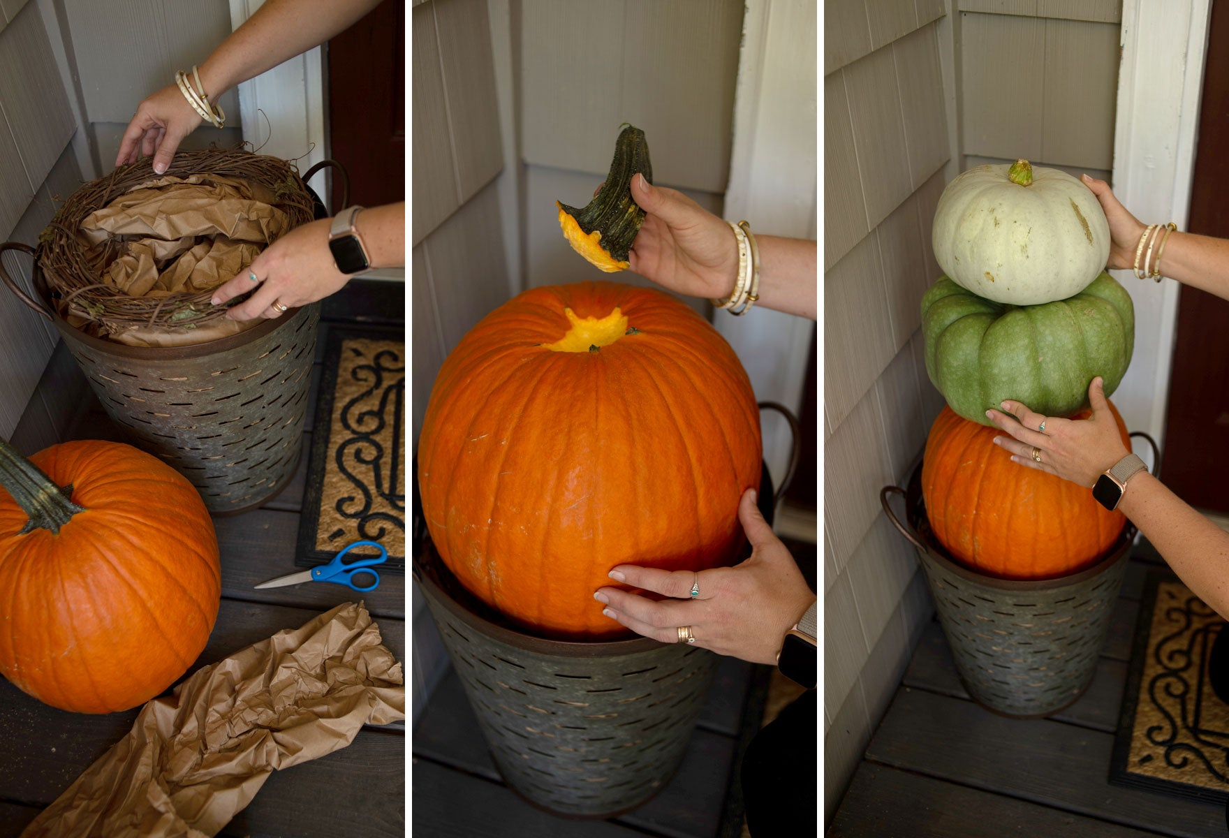 Fall Porch Pumpkin Tower - In Progress