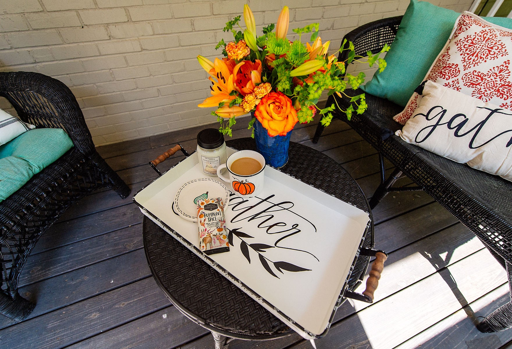 Fall Porch Decor With Chairs and Table and Tea