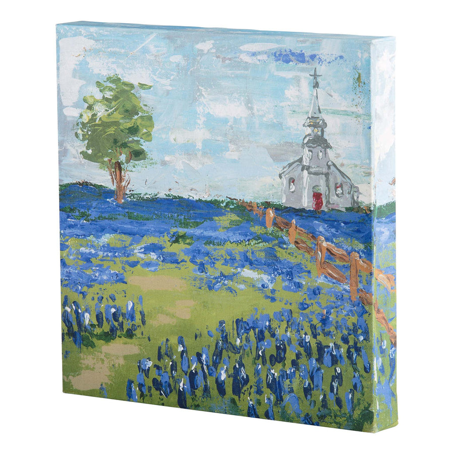 Church in Blue Bonnet Field Canvas