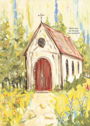 All Things Possible Red Door Church Block Canvas