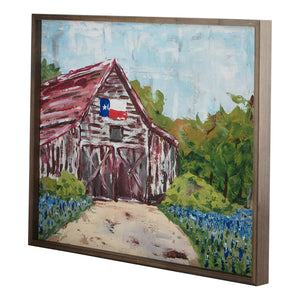 Barn with Texas Flag Framed Canvas