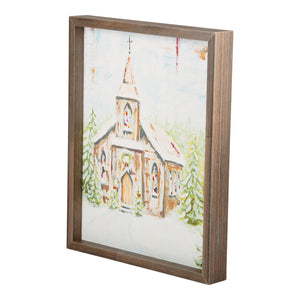 Church at Christmas Small Framed Canvas