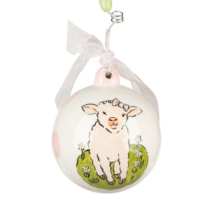 Lamb Baby's First Girl Ornament