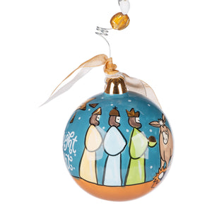 Gold Star Silent Night Holy Night Ornament