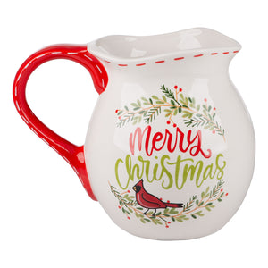 Red Bird Wreath Pitcher