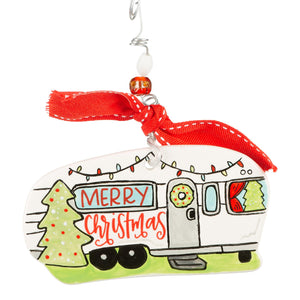 Merry Christmas Camper Flat Ornament