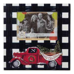 Plaid Merry Christmas Truck Frame