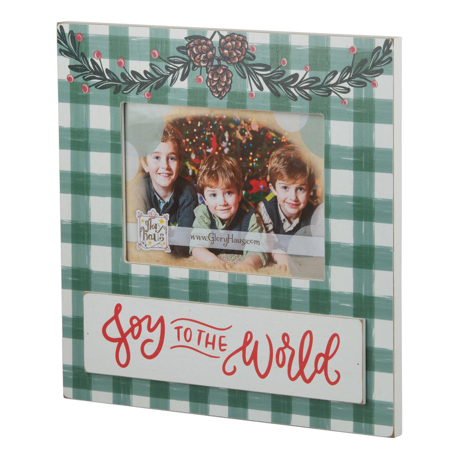 Joy to the World Plaid Frame