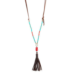 Jen Hatmaker's Turquoise Tassel Birthday Necklace