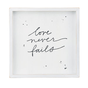 Love Never Fails Framed Board