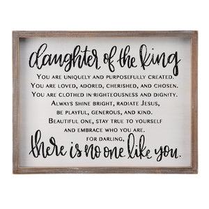 Daughter of the King There Is No One Like You Small Framed Board