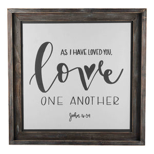 Love One Another Framed Fabric Board