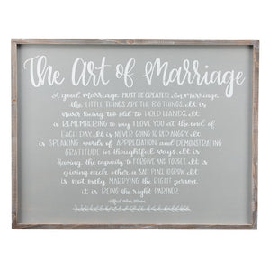 The Art of Marriage Large Framed Board