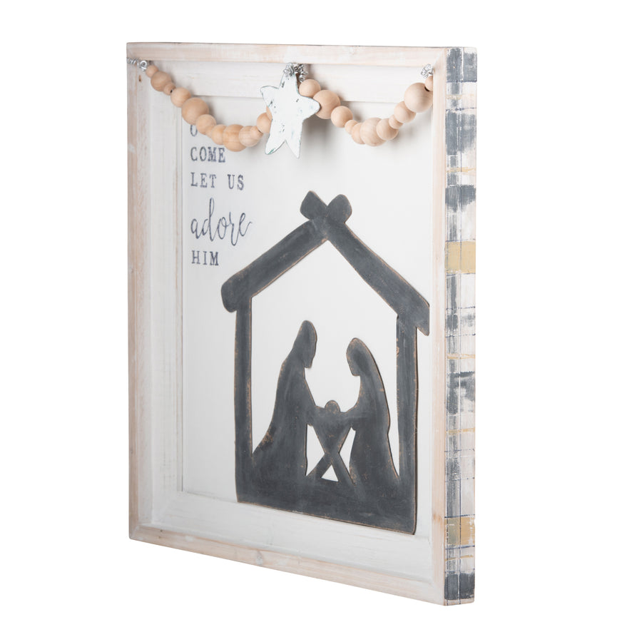 Oh Come Let Us Nativity Star Board