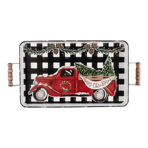 Merry Christmas Truck Enamel Tray