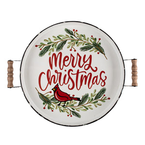 Merry Christmas Red Bird Enamel Tray
