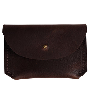 Leather Card Carrier in Chocolate Brown
