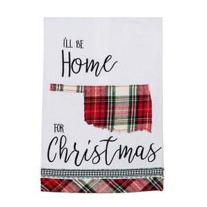 Oklahoma I'll Be Home For Christmas Tea Towel