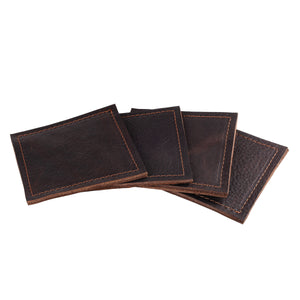 Leather Coaster Set in Chocolate Brown