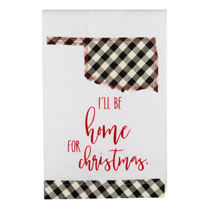 I'll Be Home Oklahoma Christmas Tea Towel