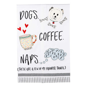 Dogs, Coffee, Naps Tea Towel
