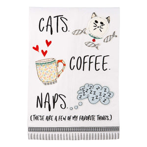 Cats, Coffee, Naps Tea Towel