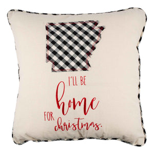 I'll Be Home Arkansas Christmas Pillow