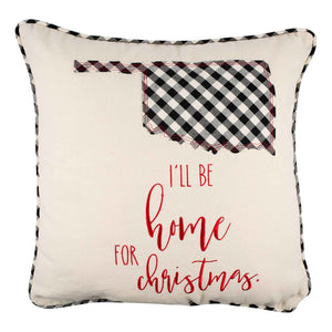 I'll Be Home Oklahoma Christmas Pillow