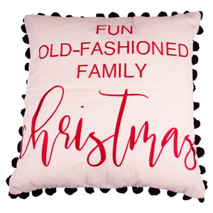 Fun Old-Fashioned Family Christmas Pillow