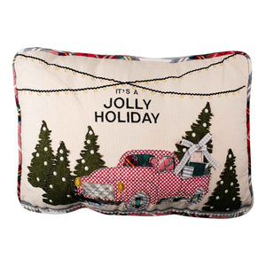 Jolly Holiday Truck Pillow
