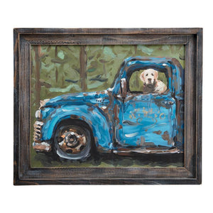 Dog In Blue Truck Framed Canvas