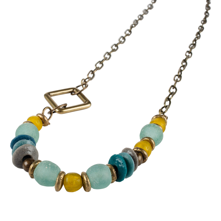 Layered Sea Glass Necklace - Brass Square
