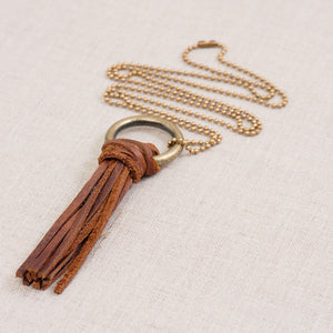 Leather Tassle Necklace (Handmade)