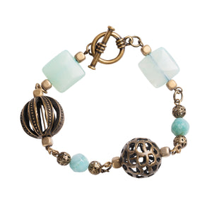 Blue and Antique Brass Mixed Bracelet