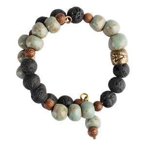 Robin Blue Clay and Lava Bead Bracelet