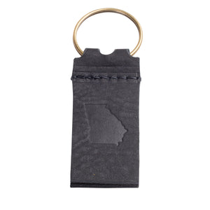 State of Georgia Key Chain in Black Leather