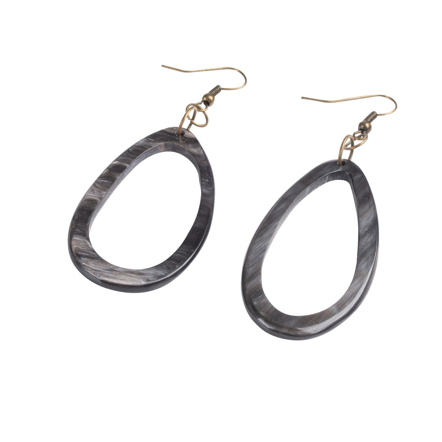 Teardrop Black Horn Earrings