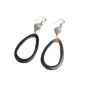 Teardrop Black Horn with Bead Earrings