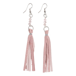 Blush Tassel Earrings with Crystal