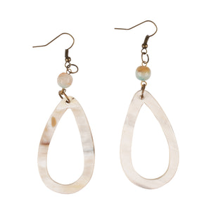 Ivory Teardrop Earrings with Bead