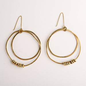 Hammered Brass Double Hoop with Beads Earrings