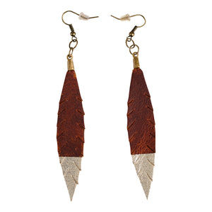 Petite Leather Feather Earrings with Platinum Accent