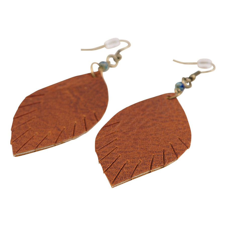Cognac Leather Feather Earrings