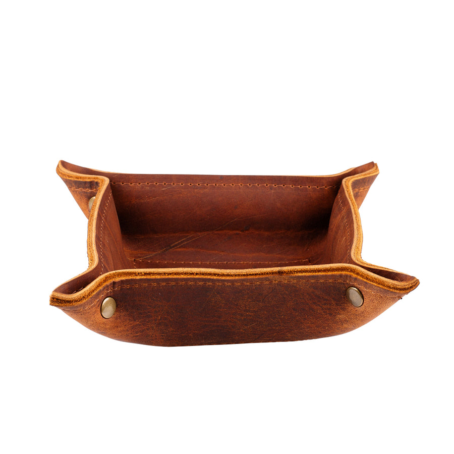 Leather Change Tray in Cognac