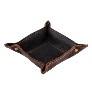 Leather Change Tray in Chocolate Brown