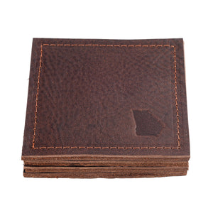 Georgia Leather Coaster Set In Chocolate Brown