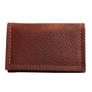 Slim Fold Card Carrier in Cognac