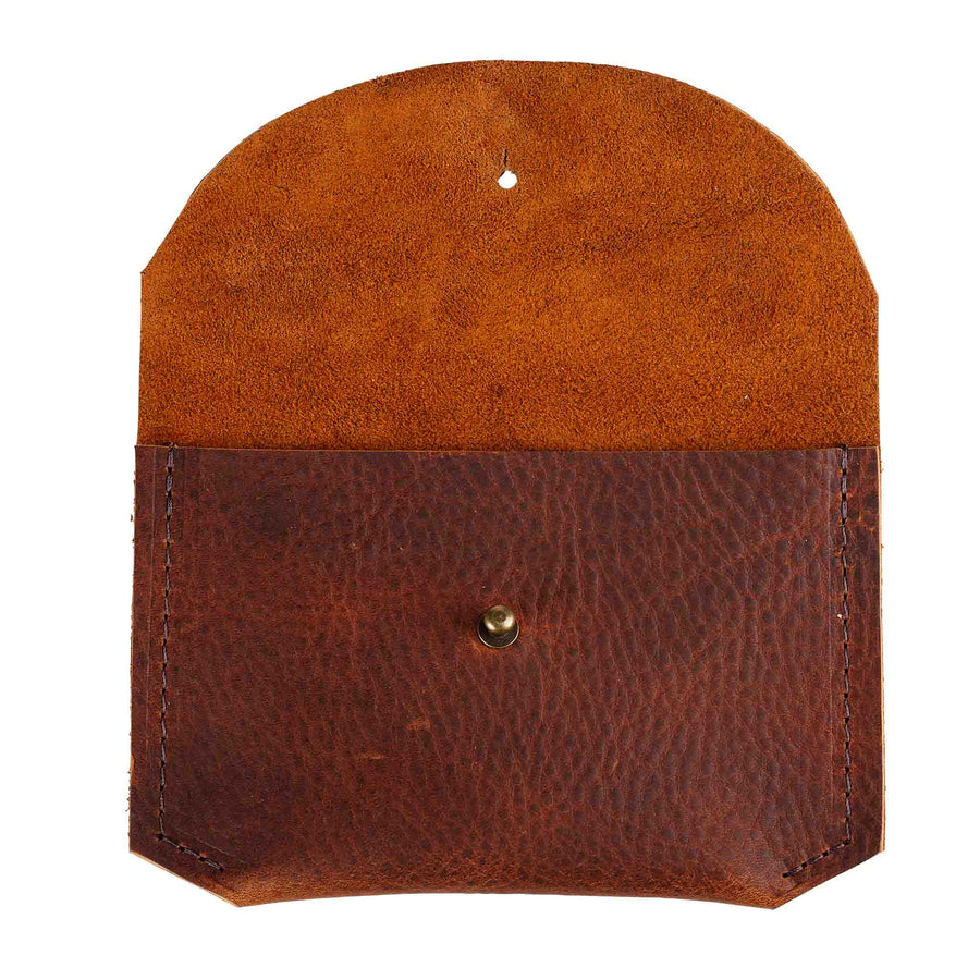 Leather Card Carrier in Cognac