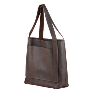 Leather Tote in Chocolate Brown