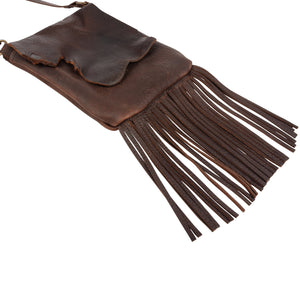 Chocolate Leather Fringe Crossbody Purse